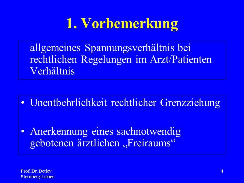 1. Vorbemerkung allgemeines Spannungsverhältnis bei rechtlichen Regelungen im Arzt/Patienten Verhältnis.