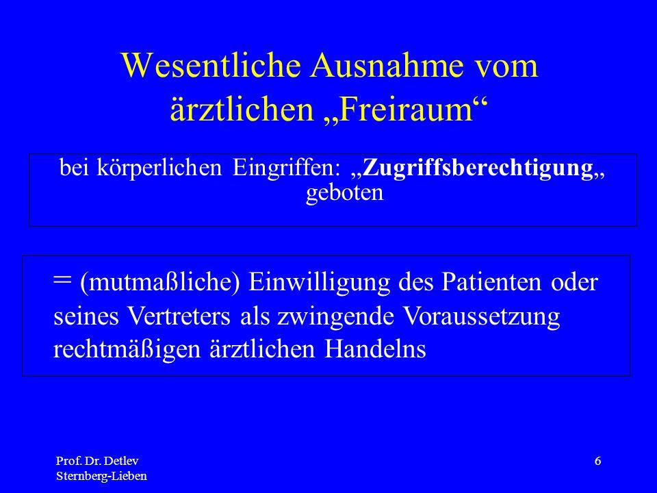 """Wesentliche Ausnahme vom ärztlichen """"Freiraum"""