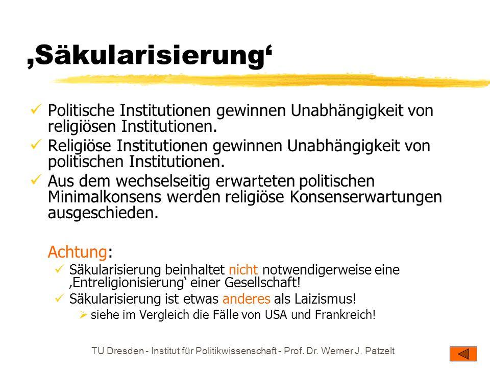 'Säkularisierung' Politische Institutionen gewinnen Unabhängigkeit von religiösen Institutionen.
