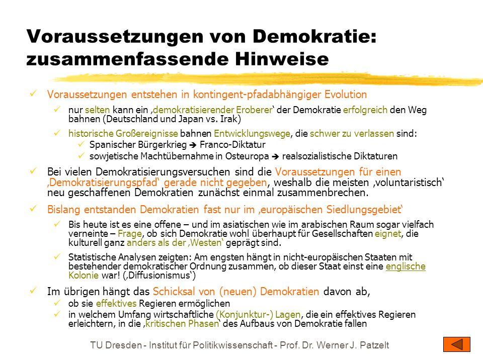 Voraussetzungen von Demokratie: zusammenfassende Hinweise