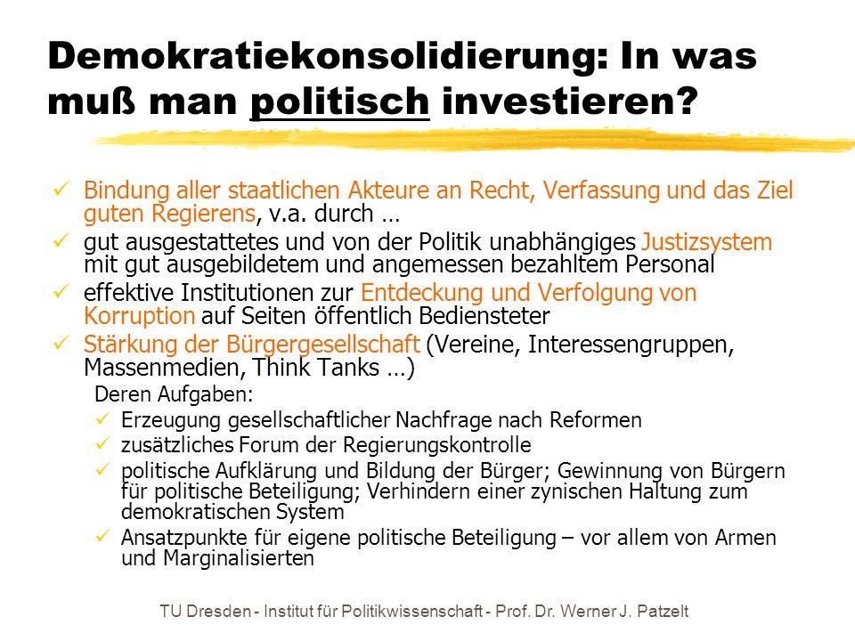 Demokratiekonsolidierung: In was muß man politisch investieren
