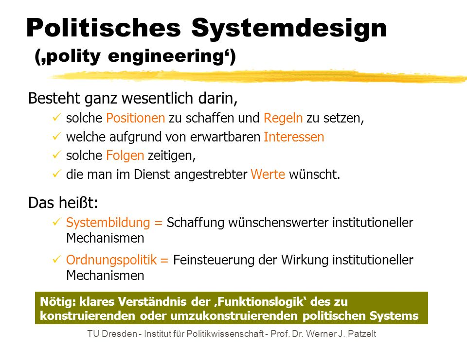 Politisches Systemdesign ('polity engineering')