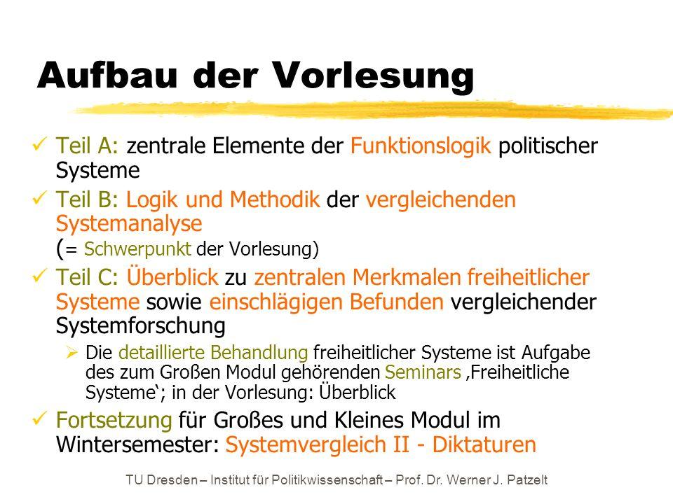 Aufbau der Vorlesung Teil A: zentrale Elemente der Funktionslogik politischer Systeme.