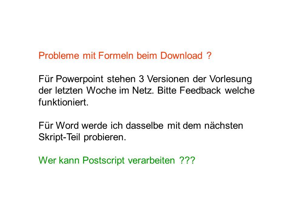Probleme mit Formeln beim Download