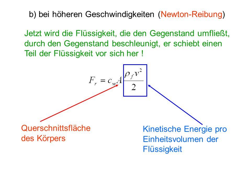 b) bei höheren Geschwindigkeiten (Newton-Reibung)