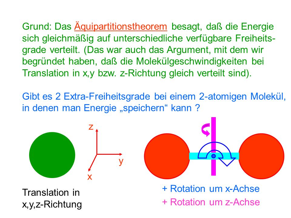 Grund: Das Äquipartitionstheorem besagt, daß die Energie