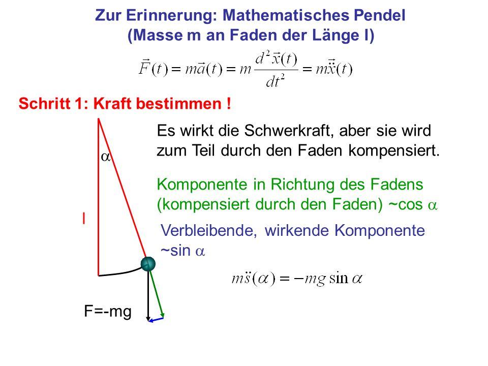 Zur Erinnerung: Mathematisches Pendel (Masse m an Faden der Länge l)