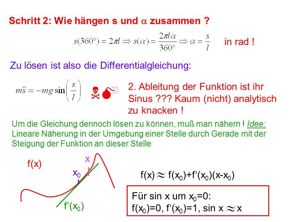 NM Schritt 2: Wie hängen s und a zusammen in rad !