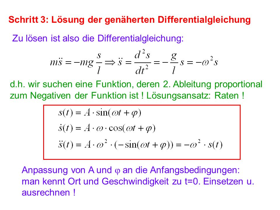 Schritt 3: Lösung der genäherten Differentialgleichung
