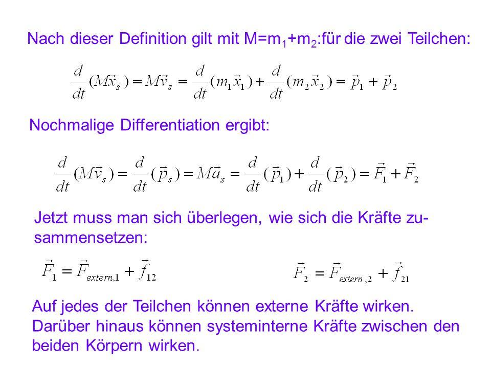 Nach dieser Definition gilt mit M=m1+m2:für die zwei Teilchen: