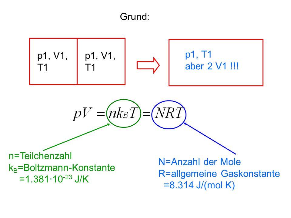 Grund: p1, V1, T1. p1, V1, T1. p1, T1. aber 2 V1 !!! n=Teilchenzahl. kB=Boltzmann-Konstante.