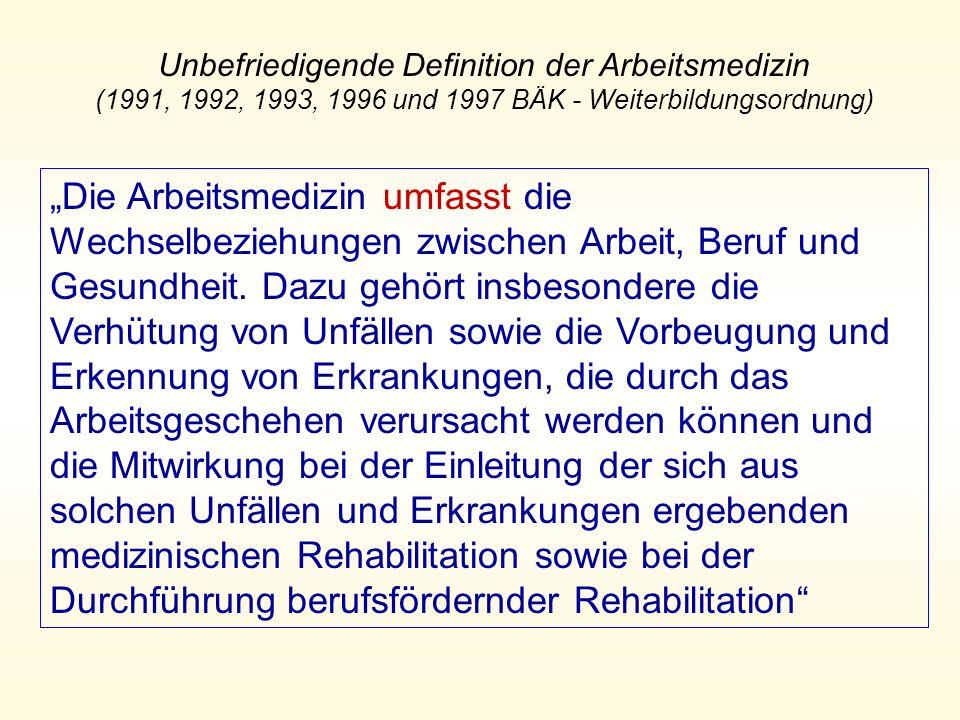 Unbefriedigende Definition der Arbeitsmedizin (1991, 1992, 1993, 1996 und 1997 BÄK - Weiterbildungsordnung)