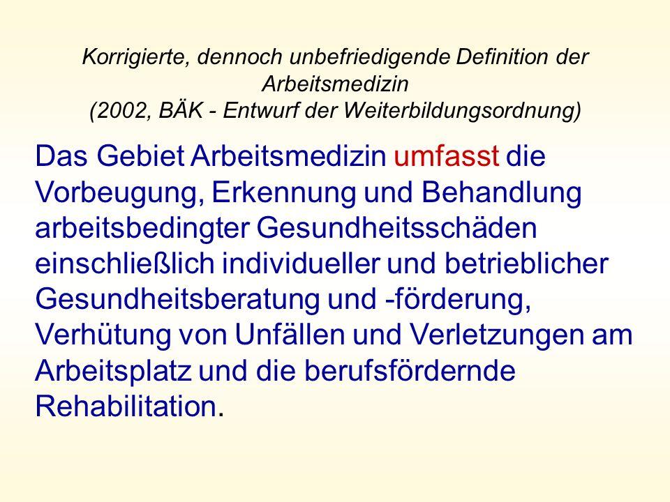 Korrigierte, dennoch unbefriedigende Definition der Arbeitsmedizin (2002, BÄK - Entwurf der Weiterbildungsordnung)