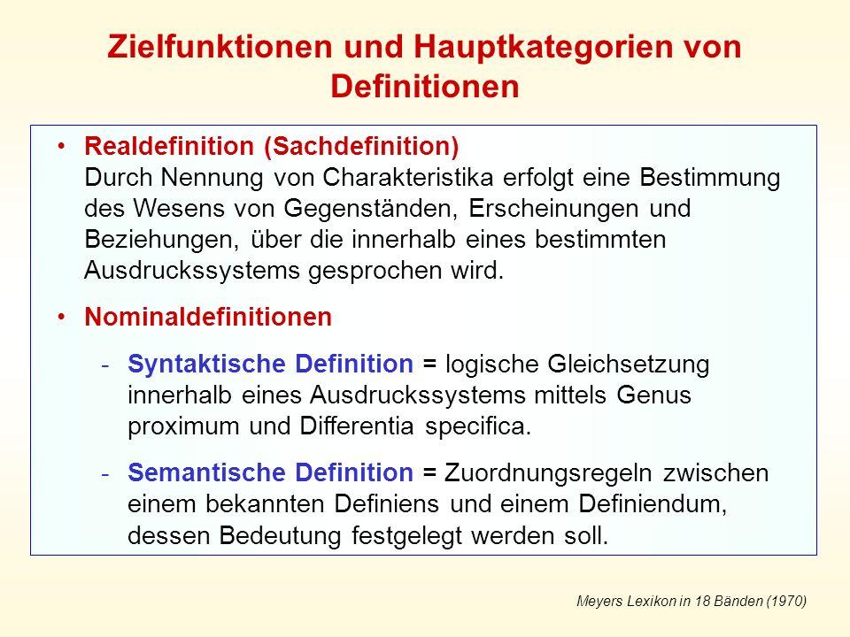 Zielfunktionen und Hauptkategorien von Definitionen