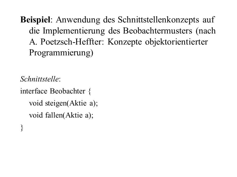 Beispiel: Anwendung des Schnittstellenkonzepts auf die Implementierung des Beobachtermusters (nach A. Poetzsch-Heffter: Konzepte objektorientierter Programmierung)