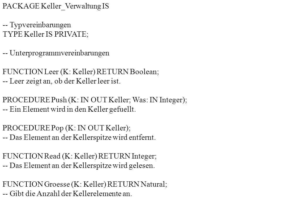 PACKAGE Keller_Verwaltung IS