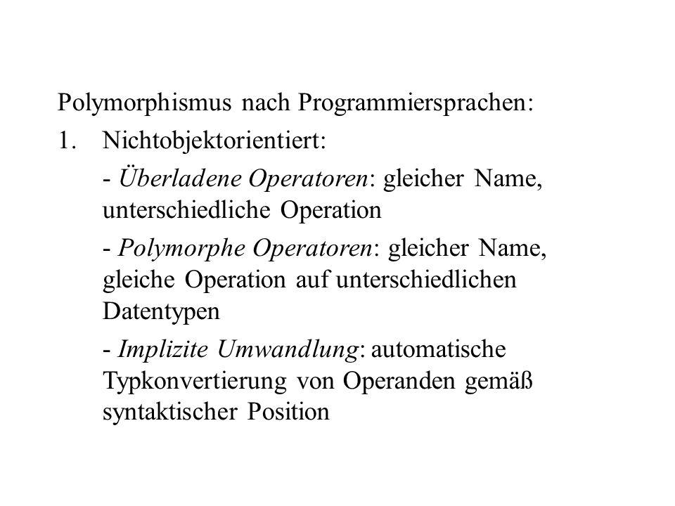 Polymorphismus nach Programmiersprachen: