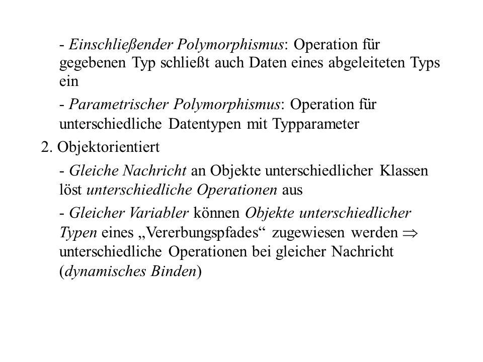 - Einschließender Polymorphismus: Operation für gegebenen Typ schließt auch Daten eines abgeleiteten Typs ein
