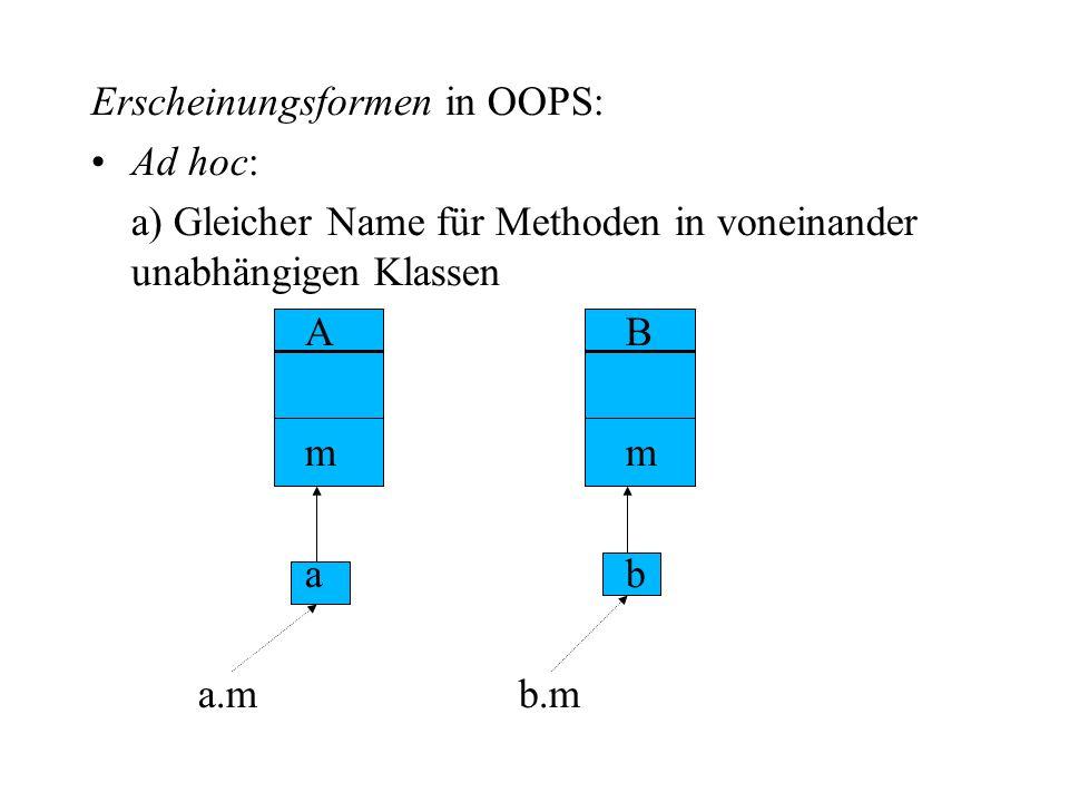 Erscheinungsformen in OOPS:
