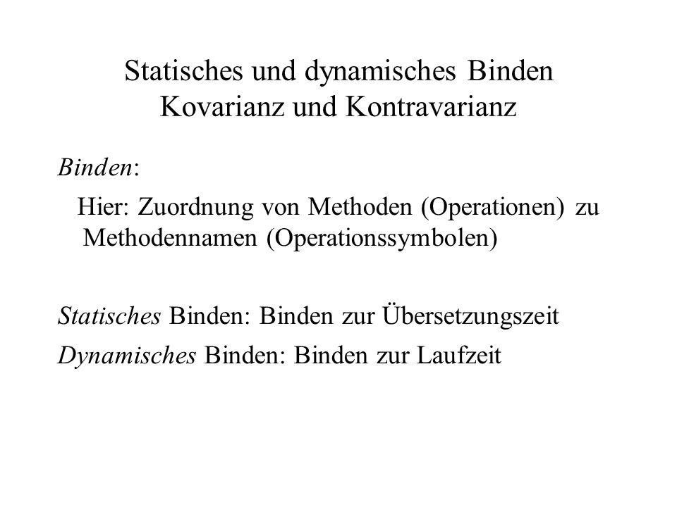 Statisches und dynamisches Binden Kovarianz und Kontravarianz