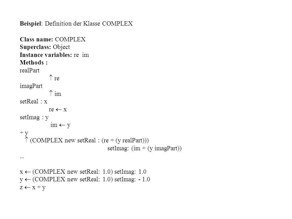 Beispiel: Definition der Klasse COMPLEX