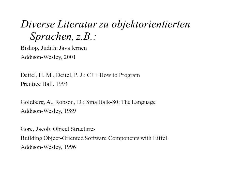 Diverse Literatur zu objektorientierten Sprachen, z.B.: