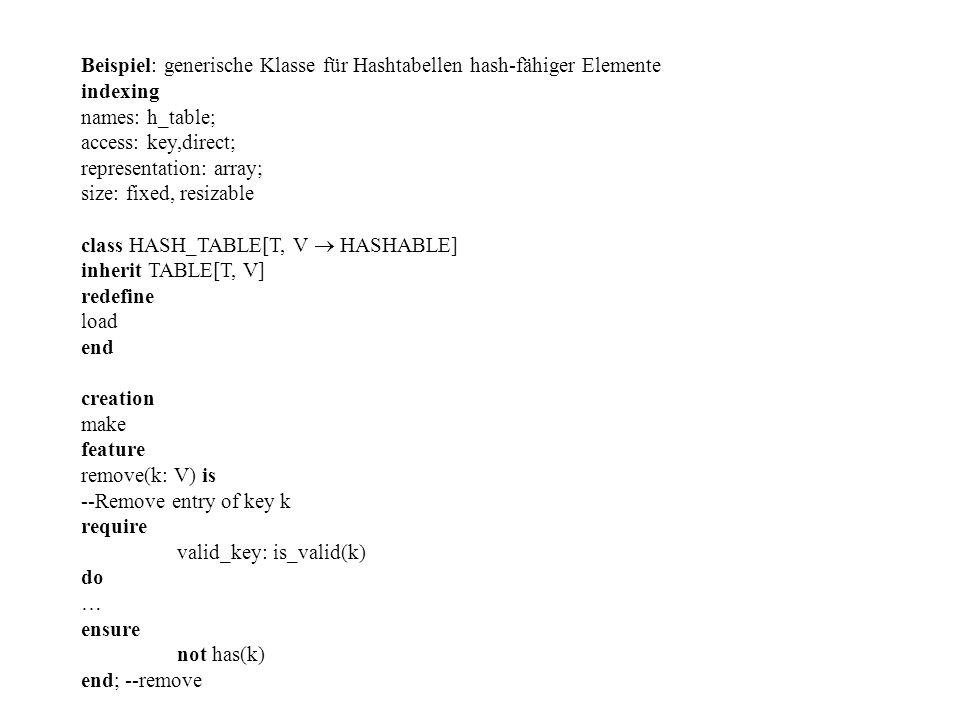 Beispiel: generische Klasse für Hashtabellen hash-fähiger Elemente