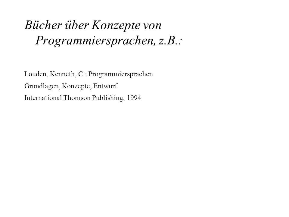 Bücher über Konzepte von Programmiersprachen, z.B.:
