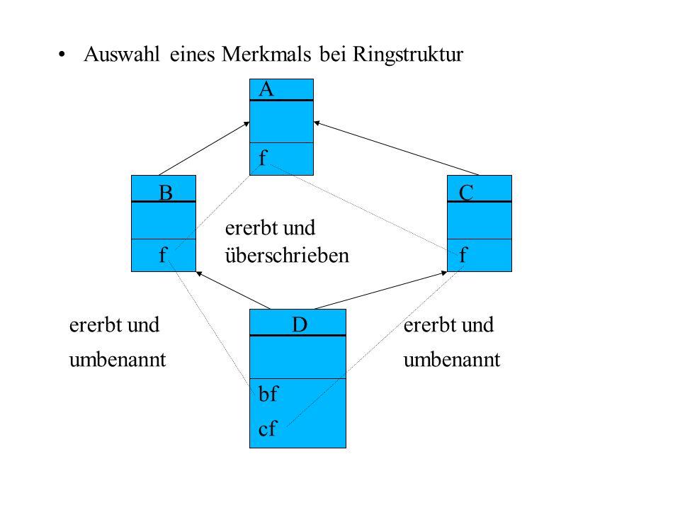 Auswahl eines Merkmals bei Ringstruktur