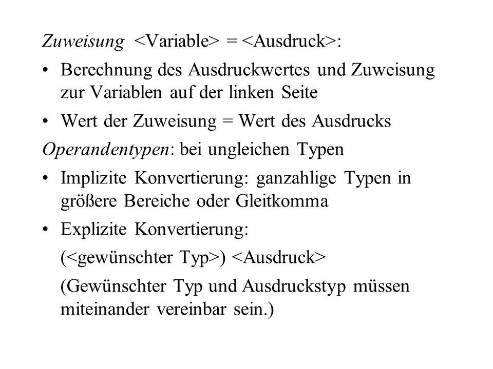 Zuweisung <Variable> = <Ausdruck>: