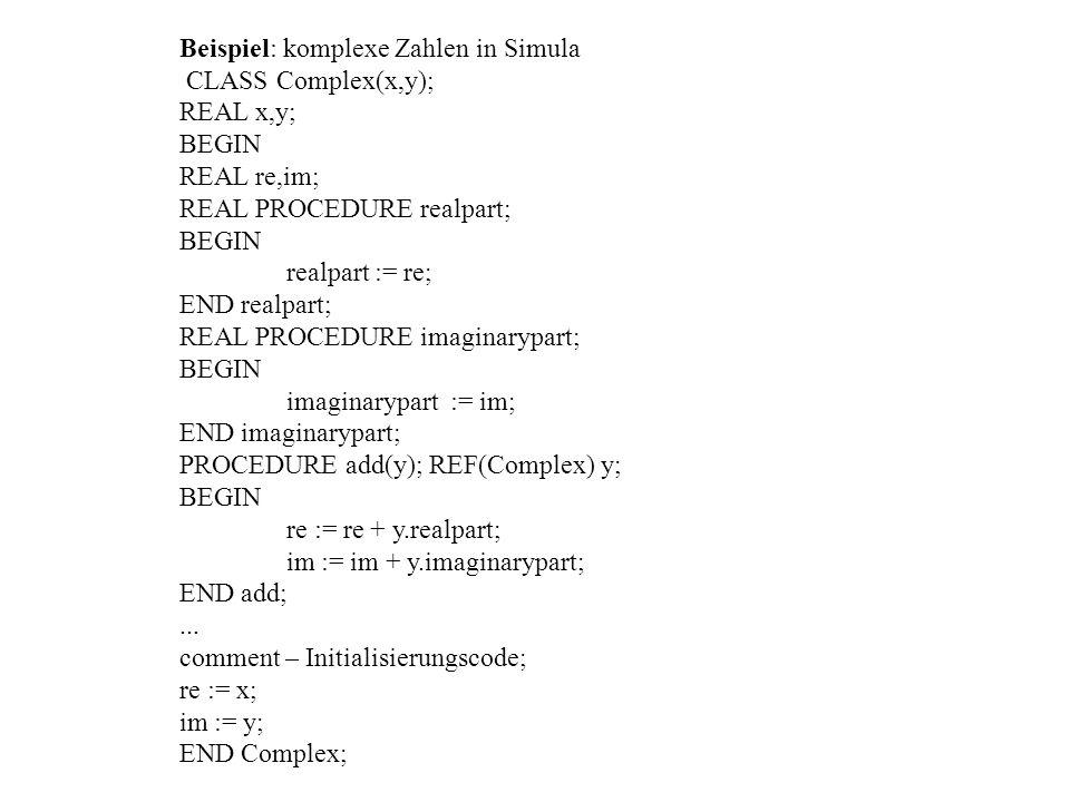 Beispiel: komplexe Zahlen in Simula