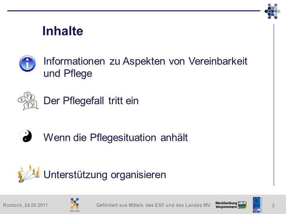 Inhalte Informationen zu Aspekten von Vereinbarkeit und Pflege