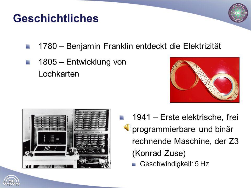 Geschichtliches 1780 – Benjamin Franklin entdeckt die Elektrizität