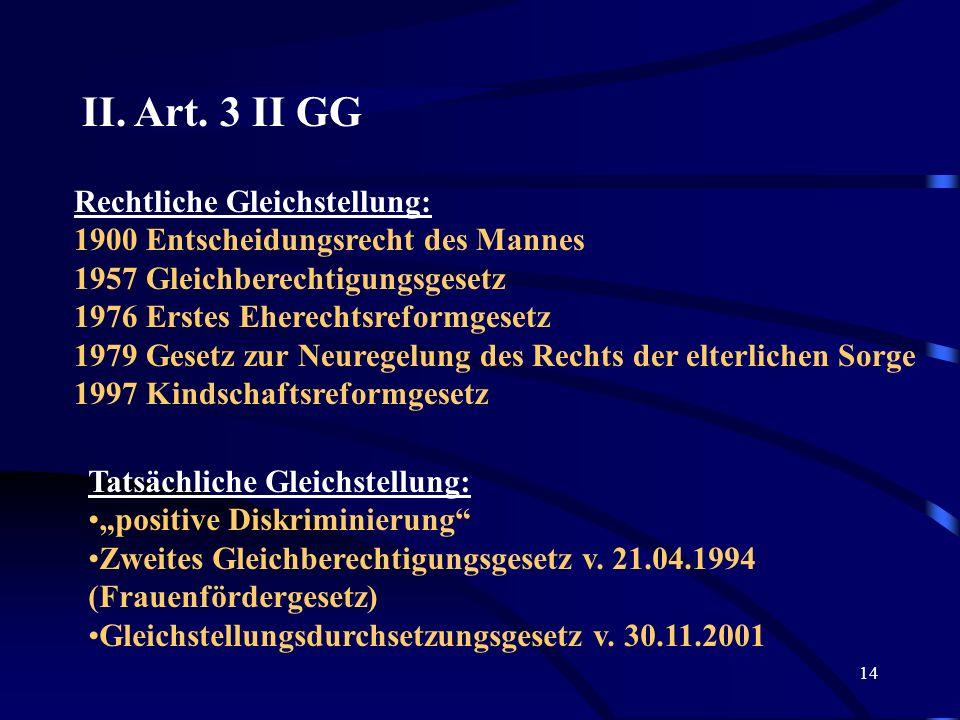 II. Art. 3 II GG Rechtliche Gleichstellung: