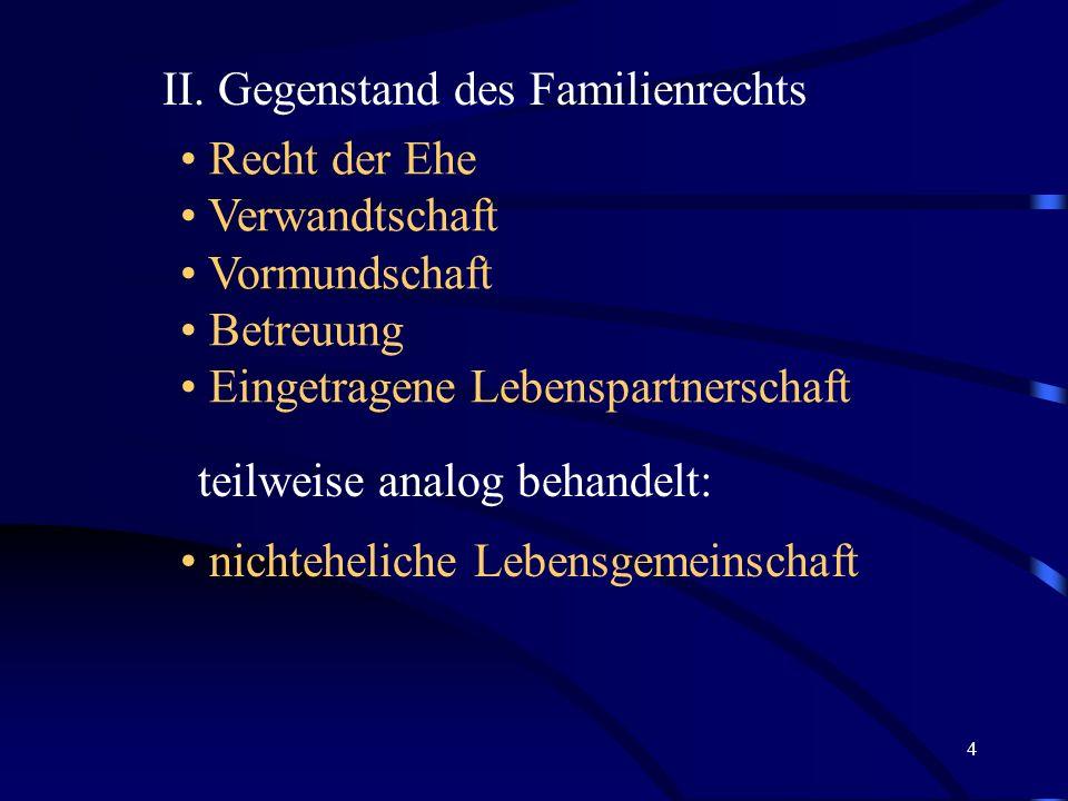 II. Gegenstand des Familienrechts