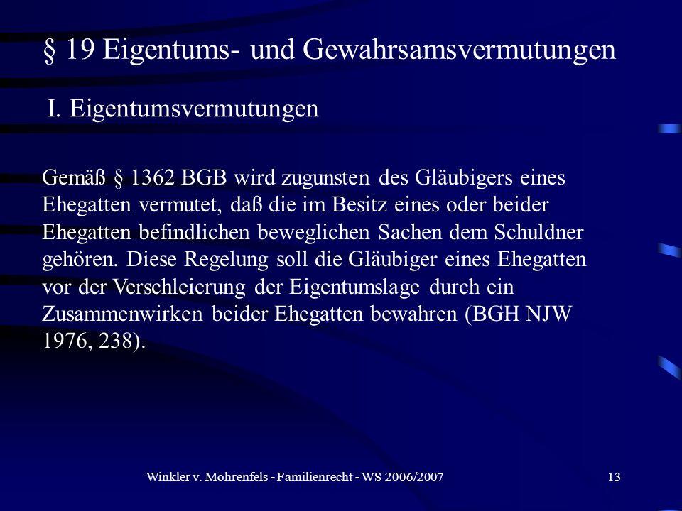 § 19 Eigentums- und Gewahrsamsvermutungen