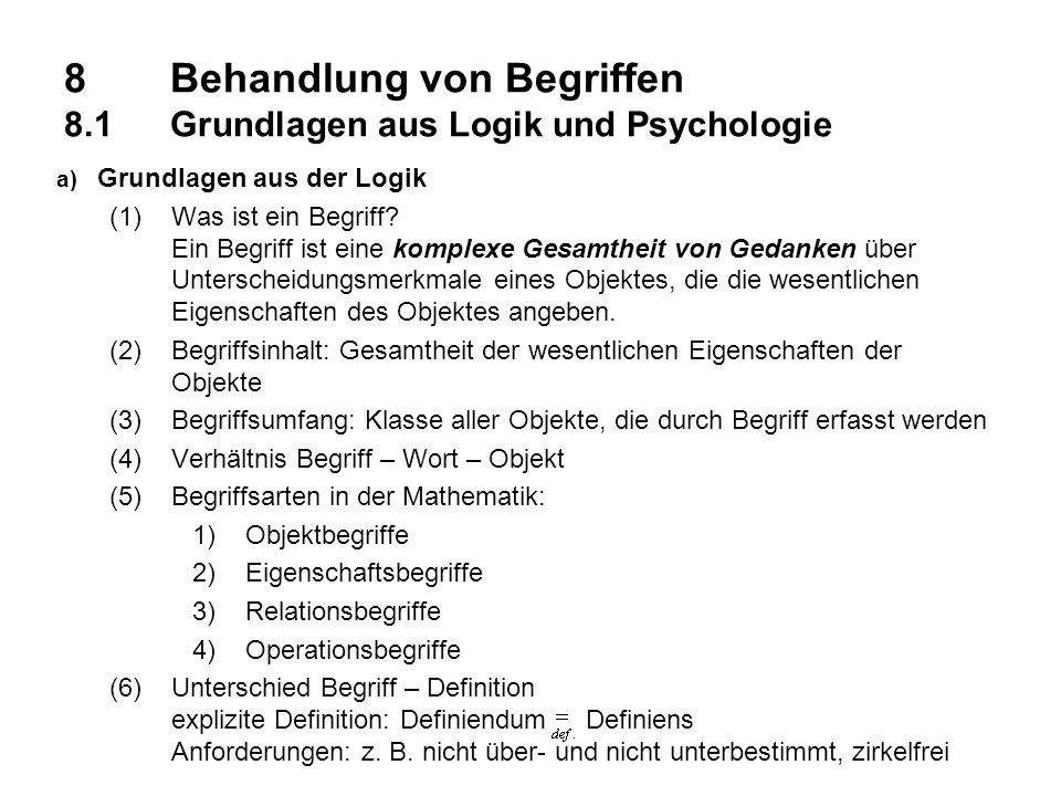 8 Behandlung von Begriffen 8.1 Grundlagen aus Logik und Psychologie