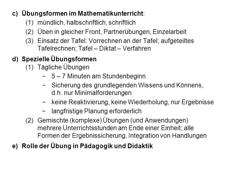 Übungsformen im Mathematikunterricht: