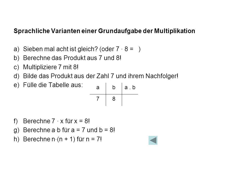 Sprachliche Varianten einer Grundaufgabe der Multiplikation