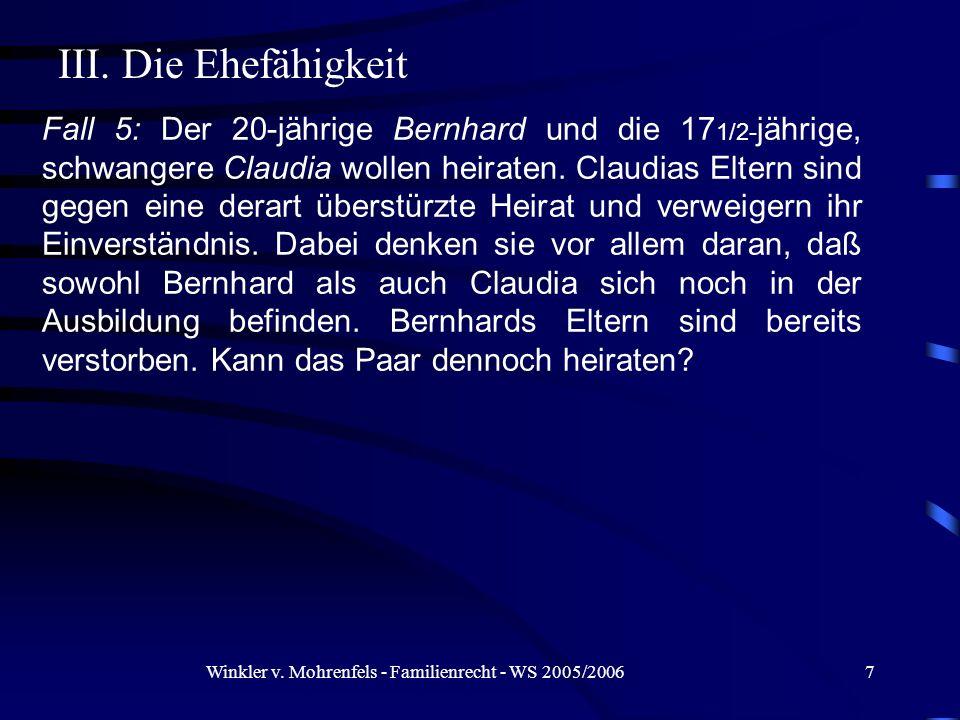 Winkler v. Mohrenfels - Familienrecht - WS 2005/2006