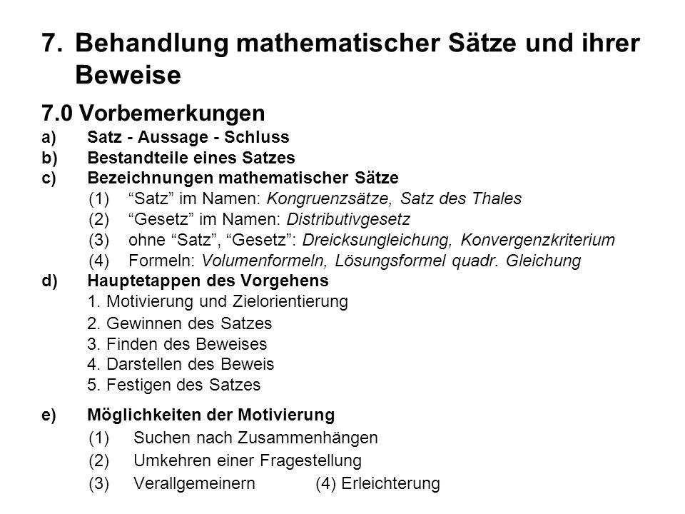 7. Behandlung mathematischer Sätze und ihrer Beweise