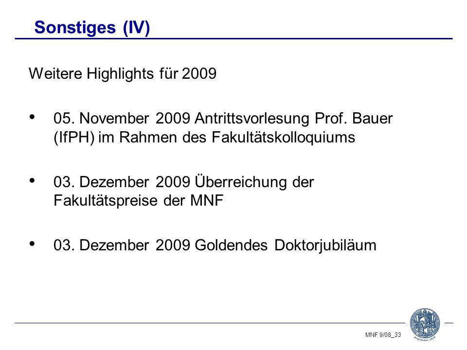 Sonstiges (IV) Weitere Highlights für 2009