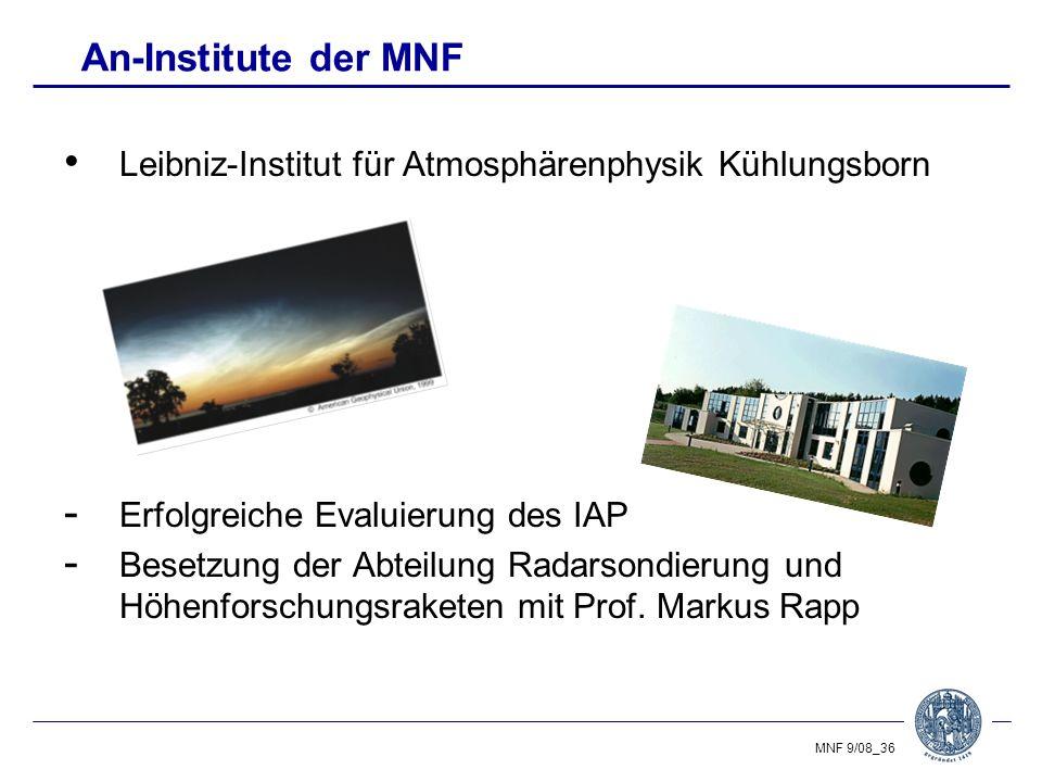 An-Institute der MNF Leibniz-Institut für Atmosphärenphysik Kühlungsborn. Erfolgreiche Evaluierung des IAP.