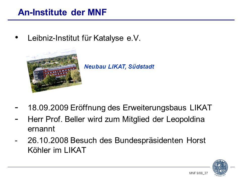 An-Institute der MNF Leibniz-Institut für Katalyse e.V.