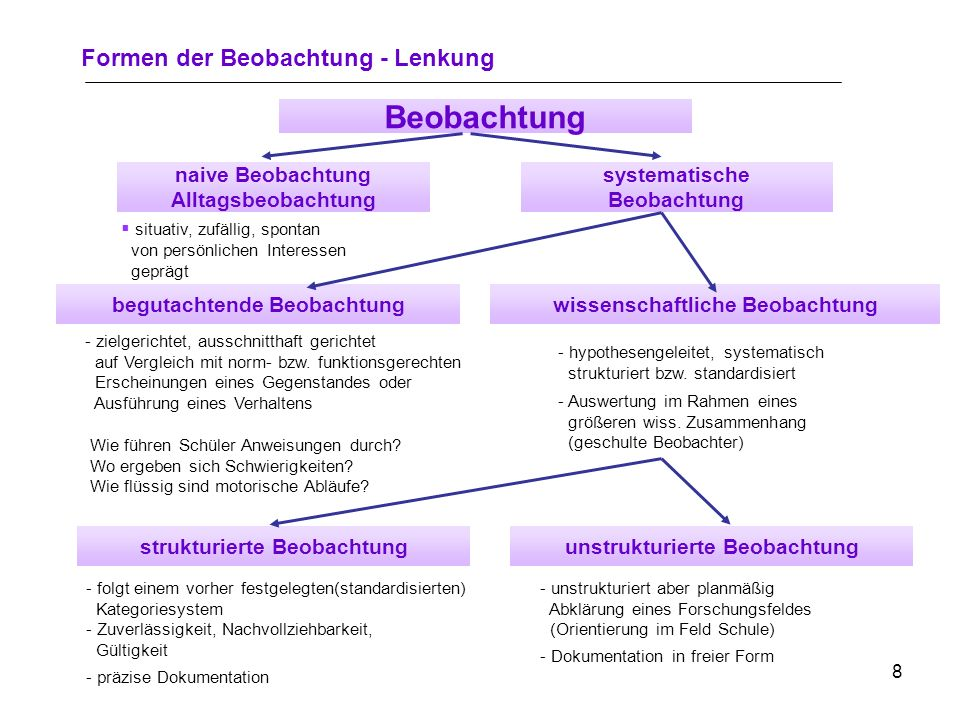 Beobachtung Formen der Beobachtung - Lenkung naive Beobachtung