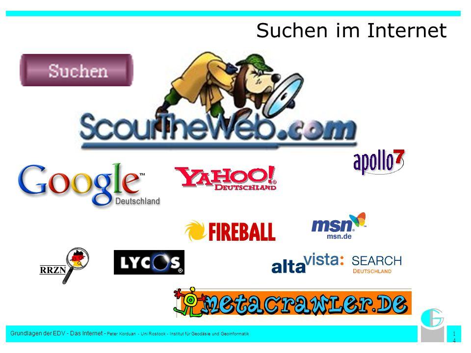 Suchen im Internet Grundlagen der EDV - Das Internet - Peter Korduan - Uni Rostock - Institut für Geodäsie und Geoinformatik.