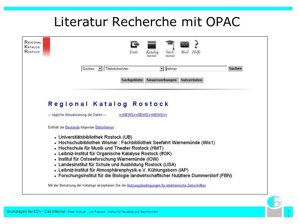 Literatur Recherche mit OPAC