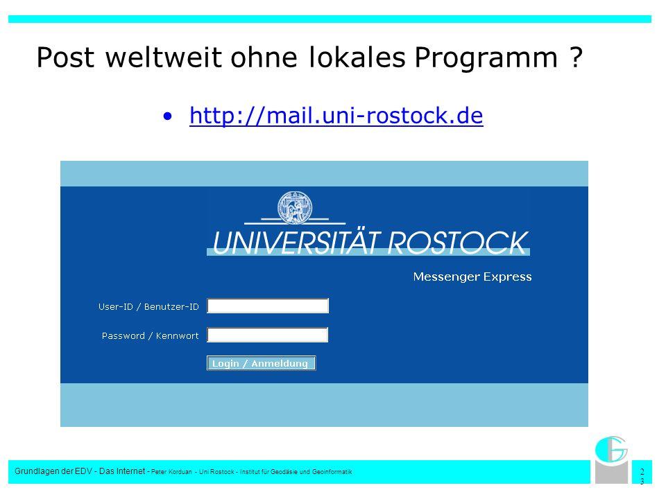 Post weltweit ohne lokales Programm
