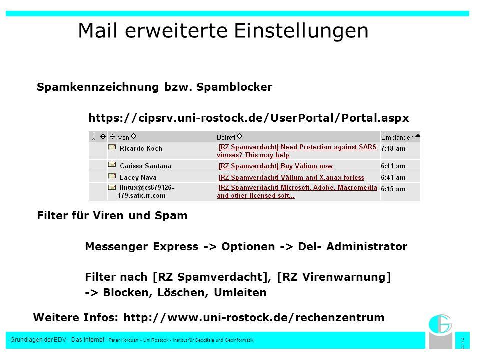 Mail erweiterte Einstellungen