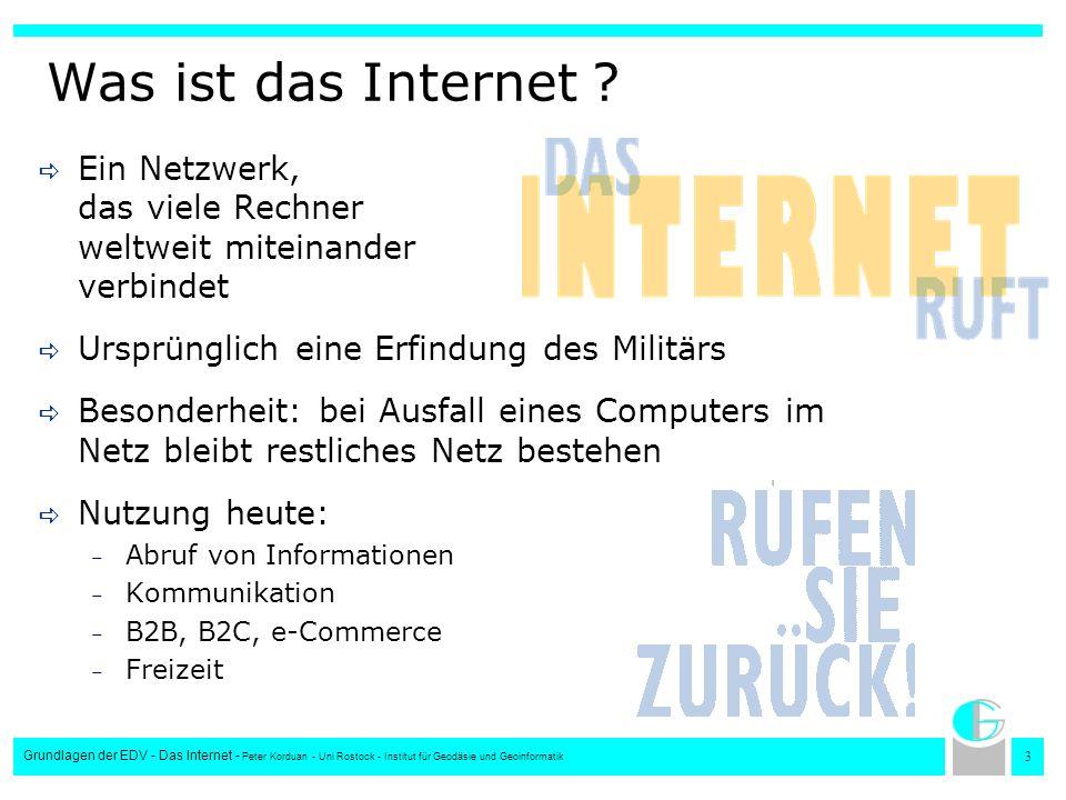 Was ist das Internet Ein Netzwerk, das viele Rechner weltweit miteinander verbindet. Ursprünglich eine Erfindung des Militärs.